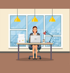 Office workplace with table bookcase window vector