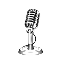 Old microphone made in engraving style vector