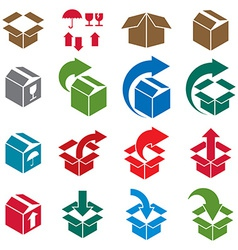 Packaging boxes icons isolated on white background vector image vector image