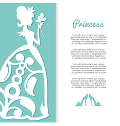 pastel colors princess banner design with girl vector image vector image