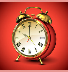 Red retro style alarm clock on red background vector