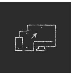 Responsive web design icon drawn in chalk vector image vector image