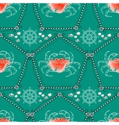 Seamless pattern with crabs and nautical vector image