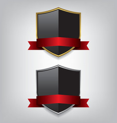 Shield gold and silver with red ribbon vector image