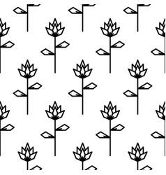 stylized line flower seamless pattern vector image