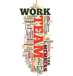 Team work no thanks text background word cloud vector