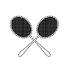 Tennis racquets sign black dashed icon on vector