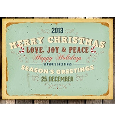 Vintage christmas card with grunge background vector