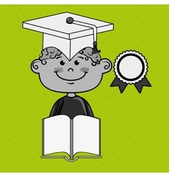Boy student book cap vector