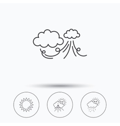 Weather strong wind and rainy day icons vector