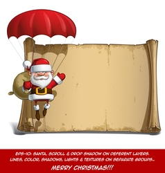 Happy santa scroll parachute sack of gifts vector