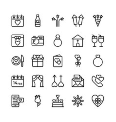 Love and valentine line icons 6 vector
