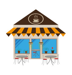 Coffee house building facade vector
