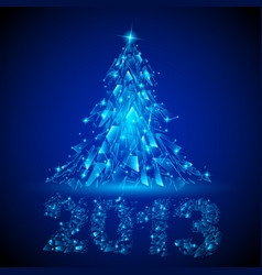 Blue christmas tree twenty-thirteen broken glass vector