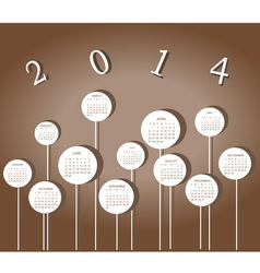 Calendar for 2014 year with circles vector image