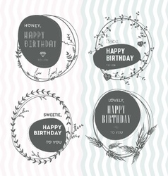 Set of floral stamps birthday vector