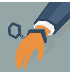 Hand criminal in handcuffs vector