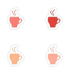 Assembly realistic sticker design on paper cofee vector
