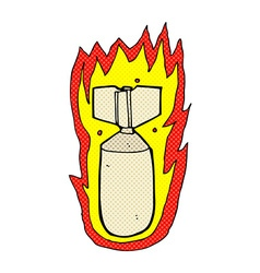 Comic cartoon flaming bomb vector