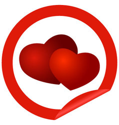 round sticker with hearts vector image