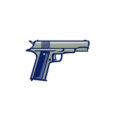 1911 semi-automatic pistol side retro vector