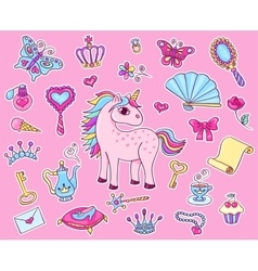 Cute princess sticker set with unicorn vector