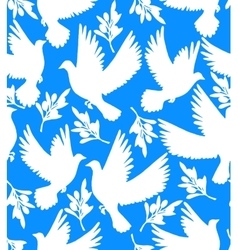 Background with doves and olive branches vector