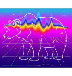 Bear northern lights vector