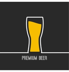 Beer glass with yellow liquid vector