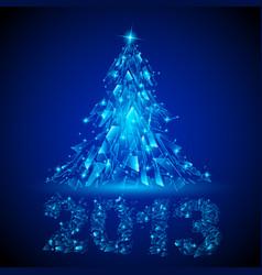 Blue christmas tree twenty-thirteen broken glass vector