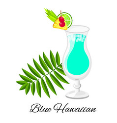 Blue hawaiian cocktail isolated on white vector
