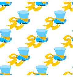 Blue wizard hat with yellow tape seamless pattern vector