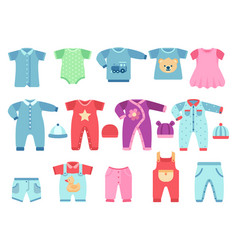 Boy and girl baby garments infant clothes vector
