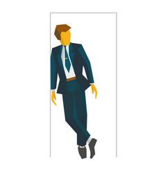 Businessman standing in doorway business concept vector