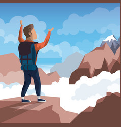 Colorful daytime landscape of climber man vector
