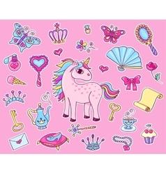 Cute princess sticker set with unicorn vector