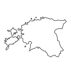 Estonia map of black contour curves of vector