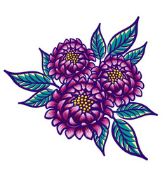 Floral hand drawn vintage flower fabulous purple vector