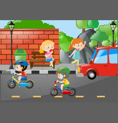 Four kids on the road vector