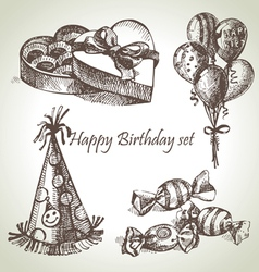 Happy Birthday set hand drawn vector image