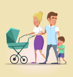 Happy family on the walk with newborn in a pram vector