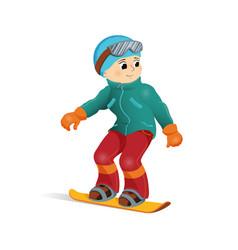 happy funny boy snowboard downhill winter sport vector image vector image