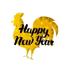 Happy new year rooster with gold vector