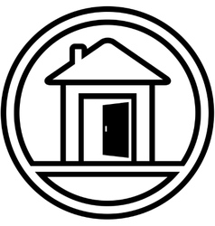 Icon with house and open door vector