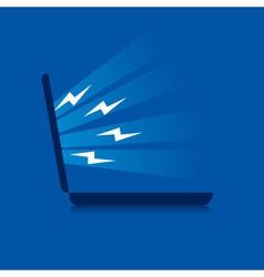 Laptop emitting energy stock vector