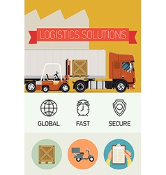 Logistic solutions poster icons vector