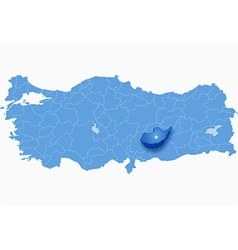 Map of turkey where adiyaman province is pulled vector