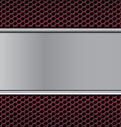 Metal texture on hex red vector