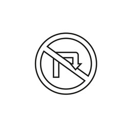 no turn road sign icon vector image