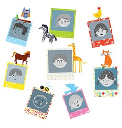 Photo frames designs for kids with funny animals vector image vector image
